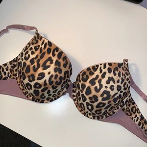 PINK cheetah print push up bra 34DD